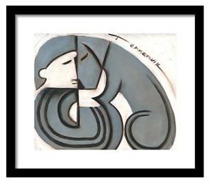 Framed Dog Art - Man and Dog - Dog Wall Pictures - Art Deco Dog - Dog Art Prints