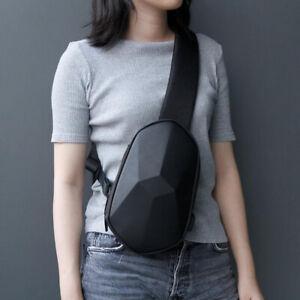 Mens Women Polyhedron PU Sling Chest Shoulder Crossbody Bag Sport Waterproof USB