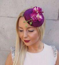 Prune Velours Violet Fleur Orchidée Chapeau Bibi Courses Coiffe Pince Cheveux