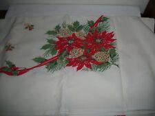 Vintage 1950's Xmas Heavier Cotton Rectangular Tablecloth