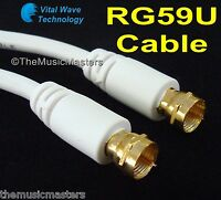 White 50 ft RG59U Coaxial Digital Video Cable HD TV Satellite Antenna Wire VWLTW