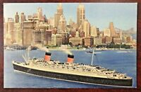 Vintage 1951 Cunard Line RMS Queen Elizabeth in New York Postcard