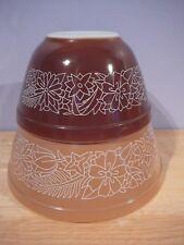 2 vintage Pyrex Woodland Mixing Bowls brown & tan nesting bowls 401 402