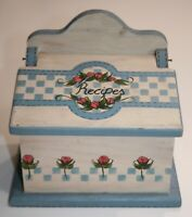 Vintage Wooden Recipe Card Box Hand-painted