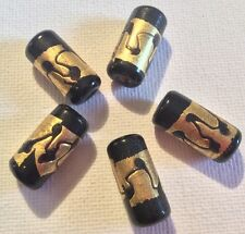 5 EXTRAVAGANTE GLASPERLEN SCHWARZ MIT ECHTEM BLATTGOLD (2) #040905