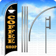 Coffee Shop Windless Swooper Flag 15' Kit Feather Banner Sign - kb