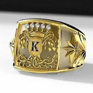 """Cool Men's Yellow Gold Plated Crown Ring """"K"""" Engraved Biker Rings Dad' Gift"""