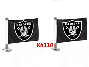NFL Las Vegas Raiders Car Hood / Trunk Ambassador Flags- Black Color