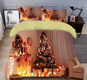 3D Candle Light Tree N503 Christmas Quilt Duvet Cover Xmas Bed Pillowcases Fay
