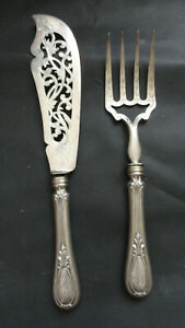 ANTIQUE  ,FRANCE PARE OF SERVING PIECES 950 SILVER BLADES AND WAITED SILVER HAND