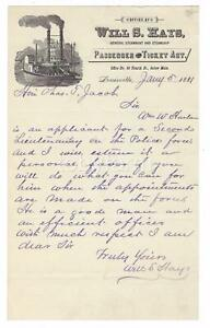 1881 WILLIAM SHAKESPEARE HAYS HANDWRITTEN LETTER STEAMBOAT LETTERHEAD LOUISVILLE