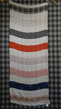 NWT COACH STRIPED Long Oblong SILK Wrap Scarf NEW 80 x 30 Shabby Chic $195.00