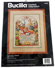 Bucilla Counted Cross Stitch Kit Praise God Sampler Animals Creatures 40495 New