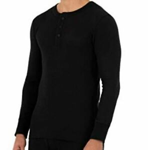 Small Fruit of the Loom Men's New Middle Weight Waffle Thermal Henley Black Soot