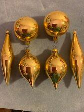 Vintage Bradford Christmas Trimmeries gold tone glass vintage ornaments teardrop