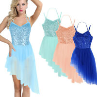 Adult Women's Sleeveless Halter Sequins Ballet Gymnastics Dance Leotard Dress