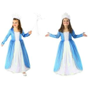 Snow Queen Blue Winter Glitter Princess Costume Dress Child Frozen Fairy Tale