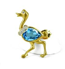 14K Yellow Gold 11mm Pear Cut Blue Topaz & (5) 0.05CT Diamond Ostrich Brooch Pin