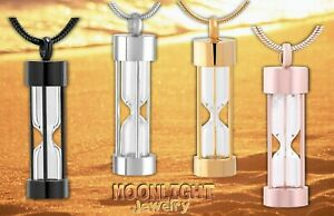 New Hourglass Cremation Hour Glass Urn Keepsake Ashes Memorial Necklace