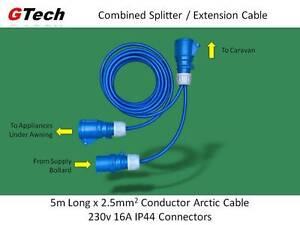Caravan Hook-Up Splitter - Combined Splitter / 5m Extension Cable