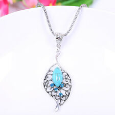 Retro Tibetan Silver Turquoise Crystal Leaf Shape Pendant Necklace Charm Jewelry
