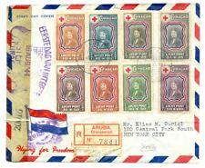CURACAO --1944 -REG CV --RED CROSS--CENSORS --TO NEW YORK -- F/VF