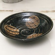 Small Shallow Ceramic Candy Trinket Bowl Dish Black Gold Swirl Circles