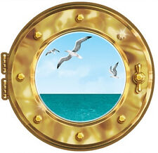 CRUISE SHIP PORTHOLE wall sticker 1 big peel and stick decal seagulls ocean sea