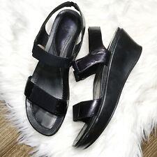 DANSKO Black Patent Platform Sandal Wm 9.5-10 Eu 40 Wedge Stretch Strap Open Toe