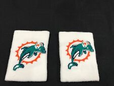 2 MIAMI DOLPHINS GAME USED WHITE FOOTBALL SWEATBANDS WRISTBANDS OLD LOGO RARE!