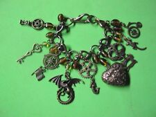 ANTIQUE BRONZE CHARM BRACELET-OOAK-Dragon, skull, heart, compass, key, STEAMPUNK