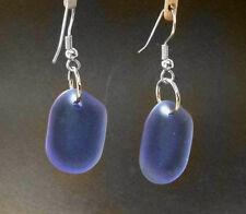 Bwt- Sea Glass Beach Glass Earrings- erg1231 Cobalt - Fashion - Nautical