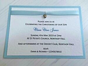 Christening Invites - Baby Blue Ribbon & Silver Heart Charm