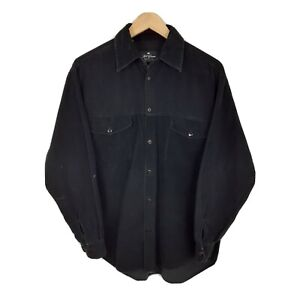 Classic Black Long Sleeve Vintage Retro Corduroy Cord Shirt Size Medium