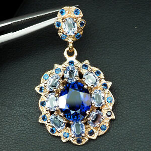 SAPPHIRE BLUE 10 STONE OVAL 9.80 CT. 925 STERLING SILVER ROSE GOLD PENDANT GIFT
