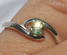 3mm Canary Yellow MONTANA SAPPHIRE Gemstone .925 Sterling Silver Ring Size 4