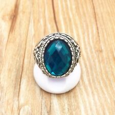 Beauty Vintage Jewelry Tibet Silver Fashion Blue Hole Ring Size 8 & gift added