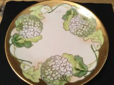 GORGEOUS ANTIQUE SIGNED HANDPAINTED LIMOGES HYDRANGEA PLATE 9 1/2in circa 1890
