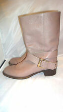 CHLOE WOMENS TAUPE LEATHER BUCKLE HEEL   BOOTS EUR 39.5/