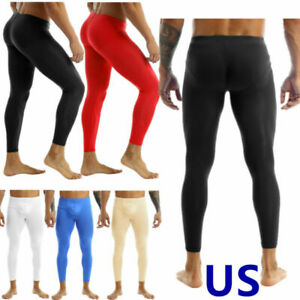 US Sexy Men Pouch Underwear Ice Silk Sheer Long Leggings Tight Thermal Underwear