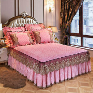 Lace Velvet Quilted Bed Skirt Elastic Twin Full Queen King Dust Ruffle Bedspread