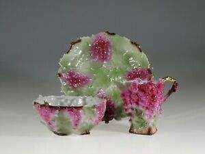 Aesthetic Movement Rare Figural Purple Grapes Cream & Sugar Set, England c.1900