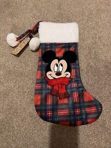 Disney primark Mickey Mouse Christmas Stocking Red Checked Tartan BNWT