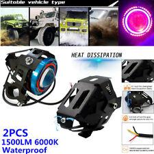 Motorcycle Bike Spotlight Halo Projector Colorful LED Headlight Lamp Waterproof