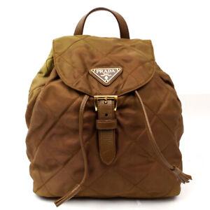 PRADA Backpack Triangle Logo Nylon Green