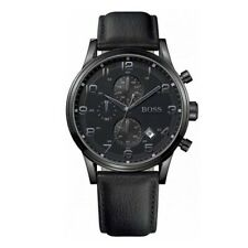 NEW HUGO BOSS HB1512567 AEROLINER GENUINE MEN'S WATCH BLACK DIAL LEATHER STRAP