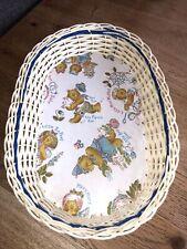 More details for vintage retro 1960/70s woven plastic basket bowl dish nursery rhymes