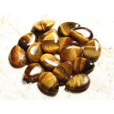 Perles de Pierre - Oeil de Tigre Gouttes plates 18x13mm
