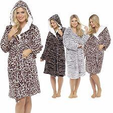 Fleece leopard print robe