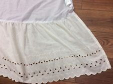 """VANITY CHIC BED SKIRT """"TWIN"""" IVORY EYELET LACE 14"""" DROP SCALLOPED EDGES"""